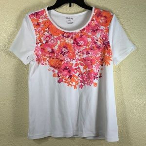 White Stag Top Tee White Floral Pink L 12/14